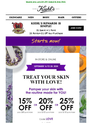 Kiehl's (CA) - STARTS NOW: Open and Smile!