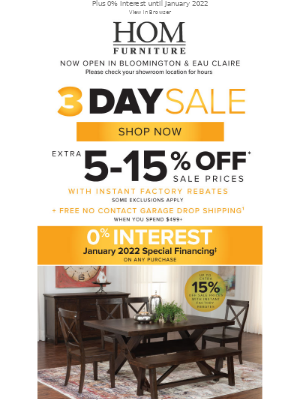 HOM Furniture - Enjoy up to 15% Off During our 3 Day Sale