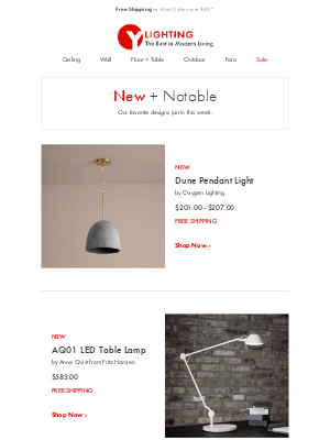 YLighting - New + Notable: designs from Fritz Hansen, Louis Poulsen, Minka Aire Fans + more.