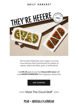 Daily Harvest - GOOD NEWS: NEW FLATBREADS 🍕 + $45 off