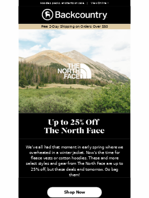 Ends Tomorrow: Up to 25% Off The North Face