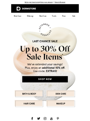 DermStore - NOW EXTENDED! Up to 30% off sale items + an extra 10%