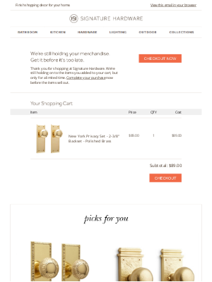 Signature Hardware - Still Want the Items in Your Cart?