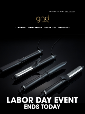 ghd (UK) - 25% off select styling tools ends today!