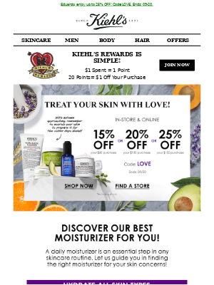 Kiehl's (CA) - Discover the Perfect Moisturizer for You & Save Up to 25% OFF! 💦