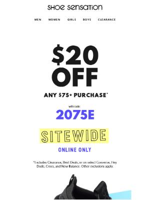 Shoe Sensation Inc - 🔥  $20 OFF $75+ Online only!