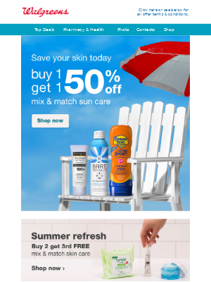BOGO 50% off sun care & stay sun safe out there