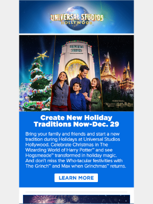 Holidays & New Year's Eve at Universal