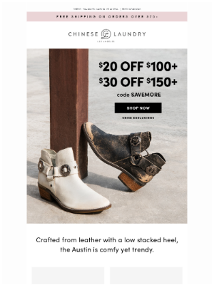 Chinese Laundry - Up to $30 Off Starts Now