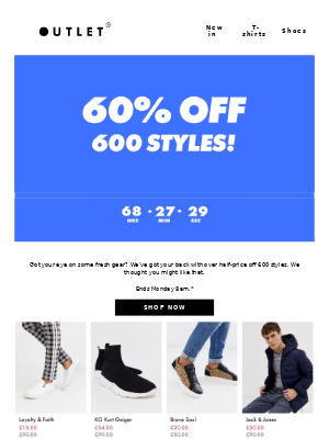 60% off 600 styles 👏