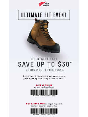 Red Wing Shoes - Save Up to $30 In-Store Through October 4th!