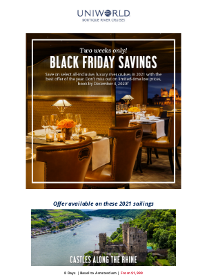 Uniworld Boutique River Cruise Collection - A Special Black Friday Offer!