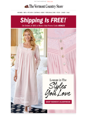 Vermont Country Store - Free Shipping Plus Get a Good Night's Sleep
