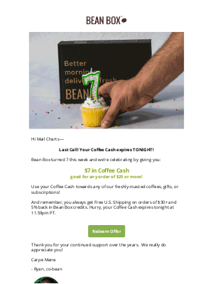 BeanBox - LAST CHANCE to spend your celebratory COFFEE CASH 🎂 ☕ 💵