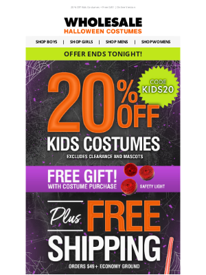Wholesale Halloween Costumes - How Terrifying! 😨 20% Off Ends Tonight!
