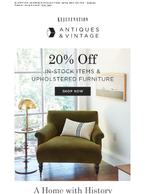 Vintage upholstered furniture is now 20% off