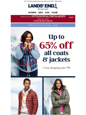 Lands' End - Snow doubt about it: Up to 65% off ALL coats & jackets!