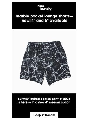Nice Laundry - NEW: MARBLE POCKET LOUNGE SHORTS
