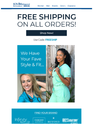 Scrubs & Beyond - Don't Pay for Shipping @ S&B!