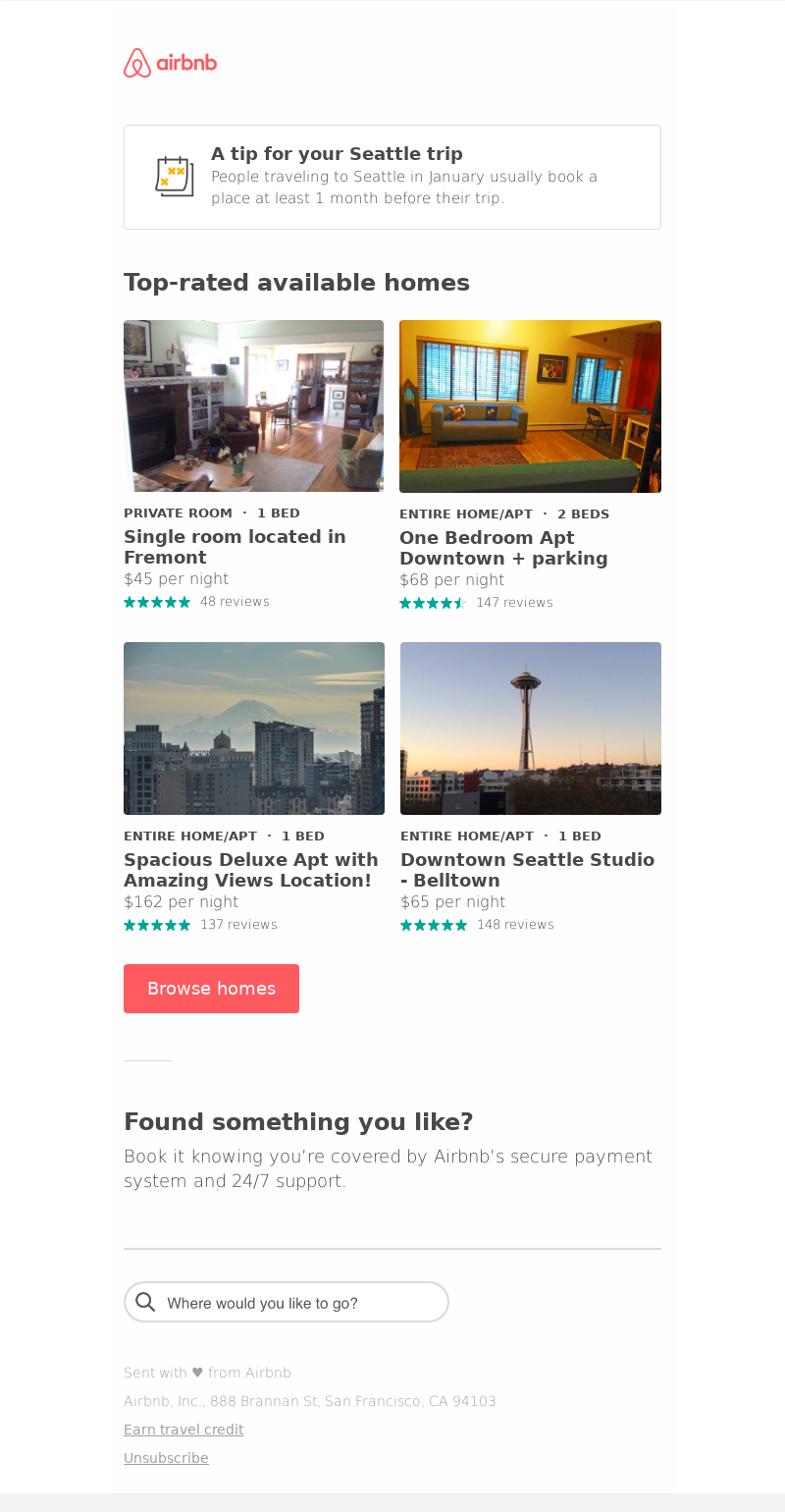 Airbnb - Travel tip: Book your Seattle trip at least 1 month in advance