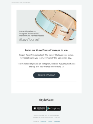 Follow us to win a makeover + Hermès bracelet!