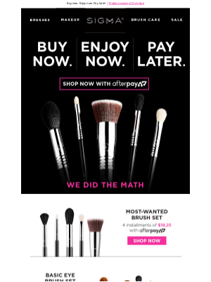 Sigma Beauty - A brush set for only $8.75 today!