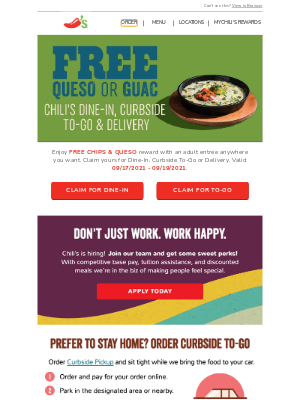 Chili's Grill & Bar - James, here's a FREE Chips & Queso reward just for you!