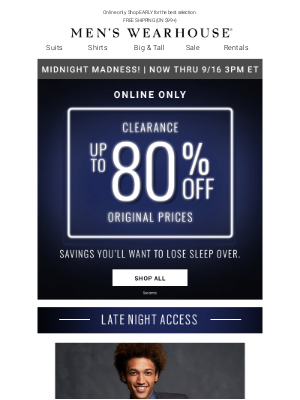Men's Wearhouse - Midnight Madness starts now! Clearance: $49.99 sport coats, $69.99 suits