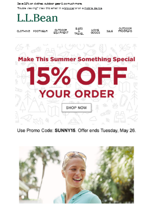 Your Promo Code: SUNNY15