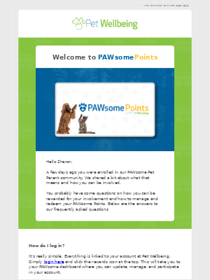 Pet Wellbeing - Hi Sharon, Check Out Your Guide to PAWsome Points