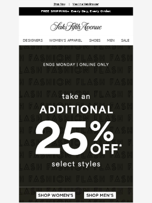 Fashion Flash: take an additional 25% off