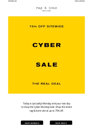 rag & bone - HOURS LEFT. Take up to 75% off. The Only Cyber Sale That Matters.