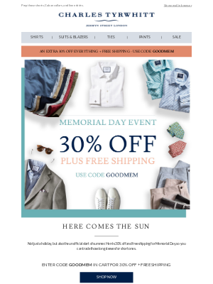 Don't forget: 30% off your summer closet