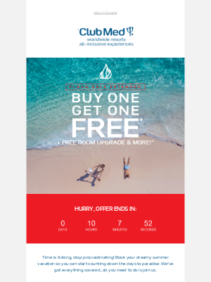 Club Med - Last hours: BOGO all-inclusive vacations + free room upgrade