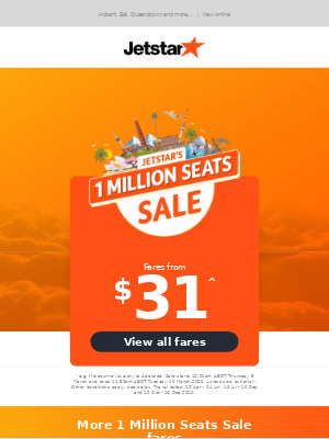 Jetstar Airways - Don't miss out! 1 Million Seats Sale on now - Fares from $31^