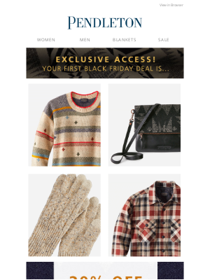 Pendleton Woolen Mills - Your Black Friday exclusive is here