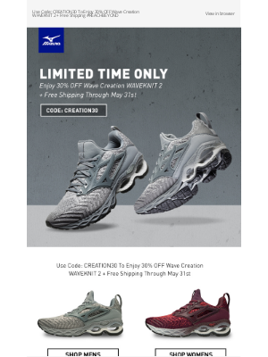 Mizuno Running - Limited Time Only! Enjoy 30% OFF Wave Creation WAVEKNIT 2 + Free Shipping
