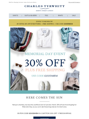 It's time for shorts, and 30% off.