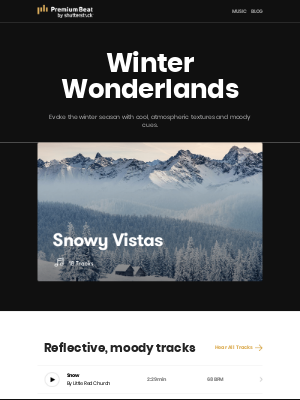 Embrace the beauty of winter with elegant and moody tracks.