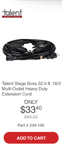 Talent SB16-32 Stage Boss 32.5 ft. 16/3 Multi-Outlet Heavy Duty Extension Cord