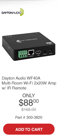Dayton Audio WF40A Multi-Room Wi-Fi 2x20W Amplifier with IR Remote