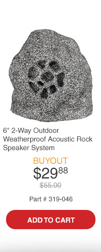 Rock 6in 2-Way Outdoor Weatherproof Acoustic Rock Speaker System Slate ipsum Finish
