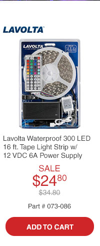 Lavolta SMD5050 RGB Waterproof 300 LED 16 ft. Tape Light Strip with 12 VDC 6A Power Supply & Mini 44-Key Remote