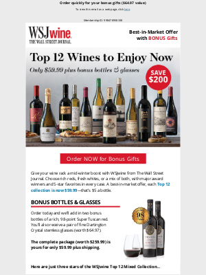 The Wall Street Journal - Member, save $200 on these must-try wines—a best-in-market offer