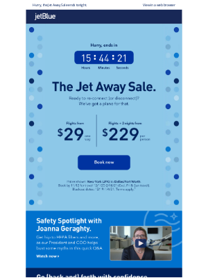 JetBlue Airways - Last chance to jet away from $29 one-way.