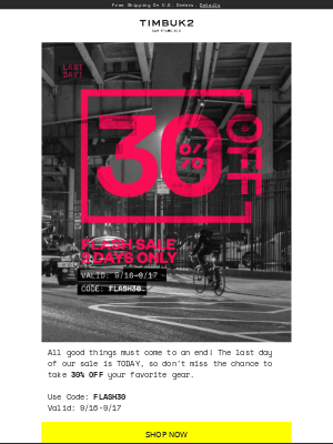 LAST DAY to take 30% OFF with code: FLASH30