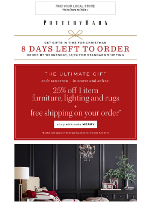 25% Off the Ultimate Gift (Furniture & More) + Up to 50% Off Deals In Stores and Online