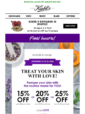 Kiehl's (CA) - LAST CHANCE! ⌛ Now or never to save up to 25%OFF!
