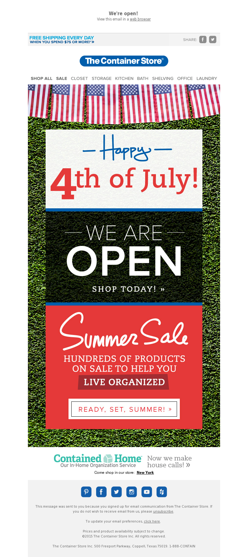 We're open! View this email in a web browser FREE SHIPPING EVERYDAY!* Share