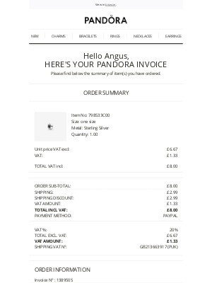 Pandora Jewelry (UK) - Your Pandora invoice for order PNDUK10369501